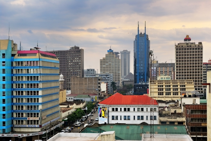 Nairobi, central business district and skyline