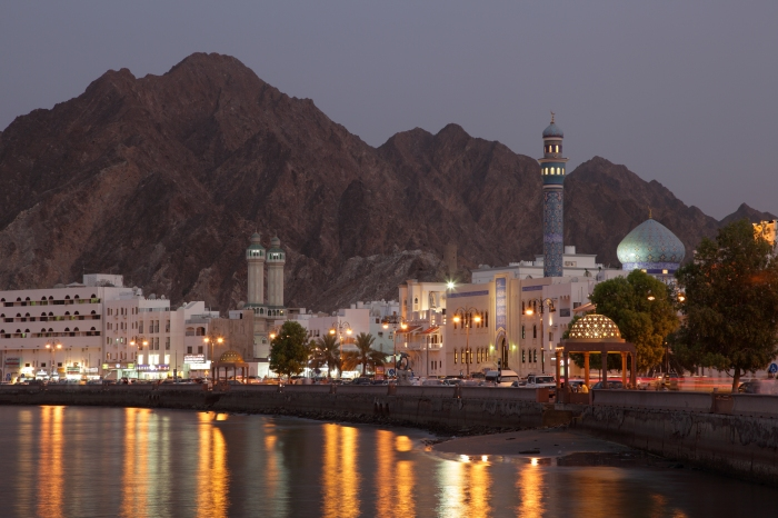 Muttrah Corniche at dusk, Muscat, Sultanate of Oman